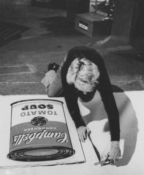 Andy Warhol working on Tomato Soup Print (1968)