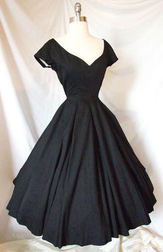 Vintage 1950s Cocktail Party Portrait Dress ~ Black ~ Wedding Evening Gown 1