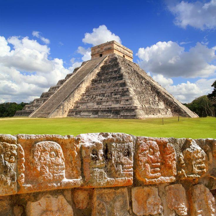 Chichen Itza, Mexico - The Wall Of Skulls And Kukulkan Pyramid El Castillo