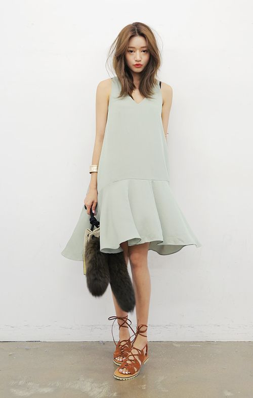 DRESS: sleek sleeveless lower waistline COLORS: palemint (pic), pale pink