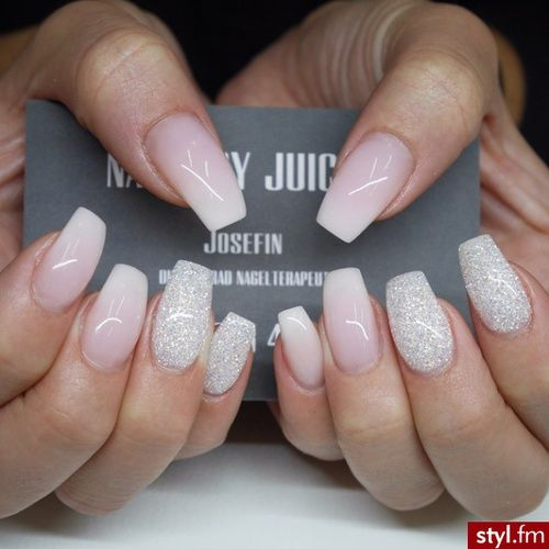 Babyboomer with white glitter coffin nails