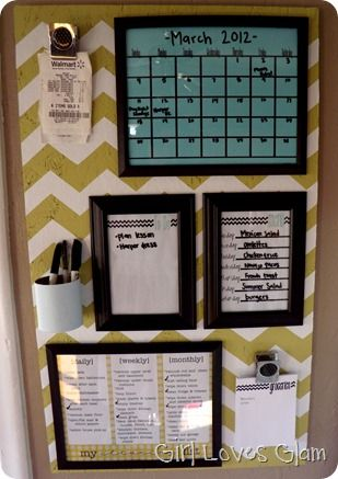 Organization Center- dollar store frames with printouts available here, stuck up with command strips