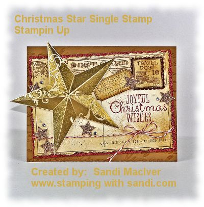 Christmas Star Stampin Up Single Stamp How To create this card instructions are shared in my blog post today:  http://stampingwithsandi.com/christmas-star-stampin-up/