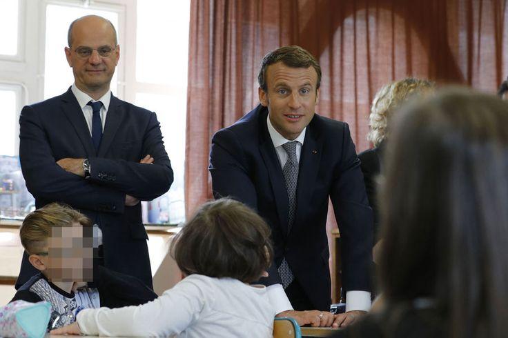 Jean-Michel Blanquer et Emmanuel Macron à Forbach