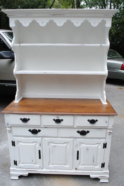 Tell City Maple 2 Piece Hutch Annie Sloan White Paint With Dark Walnut Stain
