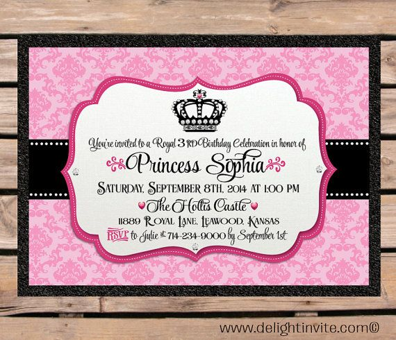 10 best princess birthday invitations images on pinterest princess damask birthday invitation envelope by delightinvite 2790 stopboris Image collections