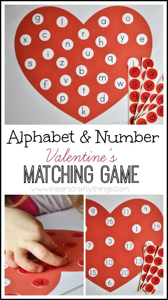 Alphabet and Number Valentine's Matching Game (Free Printable) | Great Valentine's Day activity for kids | from iheartcraftythings.com