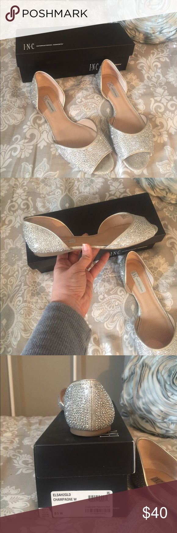Inc Elsah embellished peep toe flats These beautiful Champagne colored embellished flats are beautiful! Peep toe and come up on the back of the heel. Worn once on my Wedding day! INC International Concepts Shoes Flats & Loafers