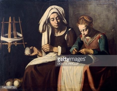 Fine art : The Virgin and St Anne, painted in the 17th century by unknown Italian artist from the Caravaggio School