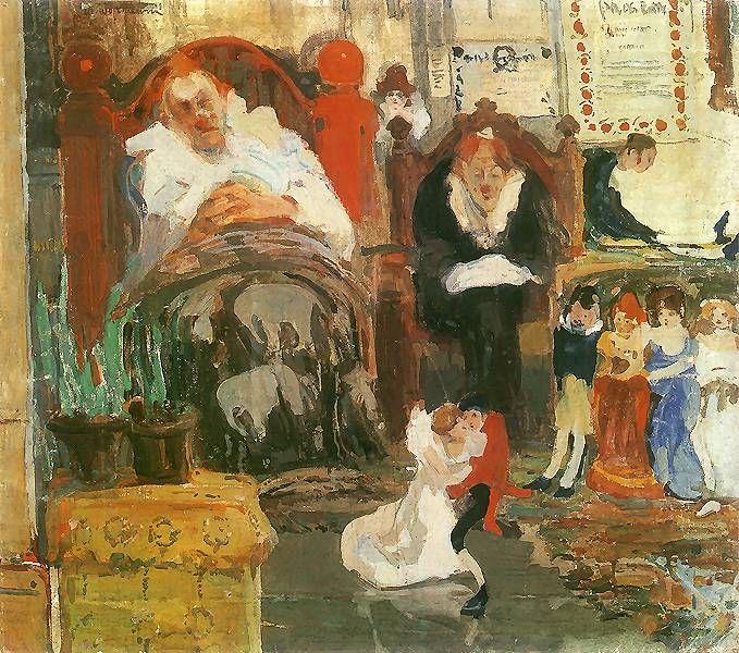Marionetki.  1907. Olej na płótnie. 71 x 80,5 cm..  Muzeum Narodowe, Warszawa.    http://www.pinakoteka.zascianek.pl/Wojtkiewicz/Images/Marionetki.jpg