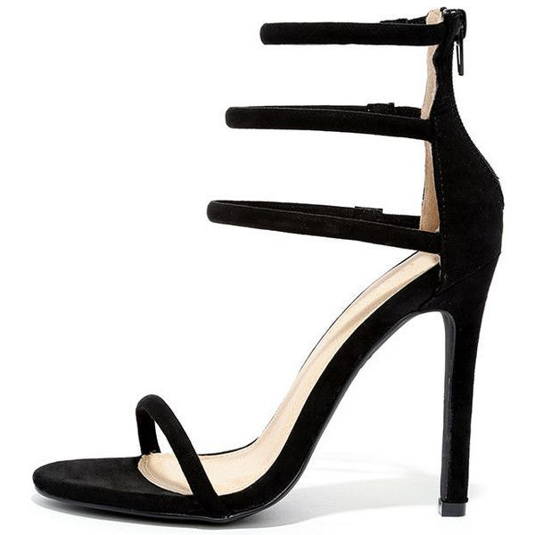 Floor is Yours Black Suede High Heel Sandals (€22) ❤ liked on Polyvore featuring shoes, sandals, heels, black, black high heel sandals, strap sandals, peep toe sandals, heeled sandals and elastic-strap sandals