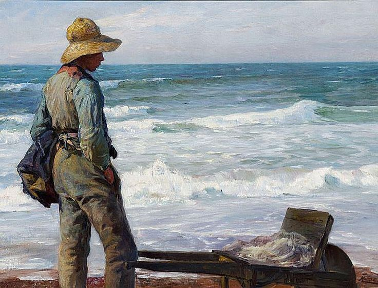 Knud Erik Larsen (1865-1922): A young fisherman with his wheelbarrow at the beach
