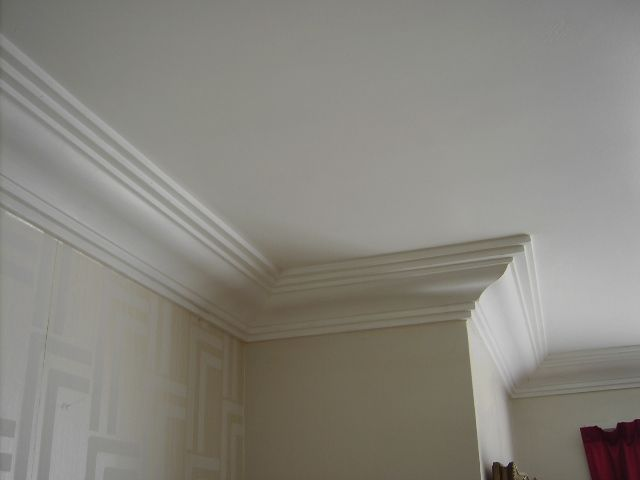 Building a mini version of the 39 step down coved ceiling for Ceiling cornice ideas