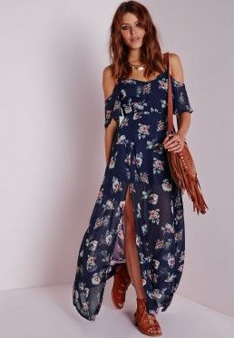 Cold Shoulder Maxi Dress Floral