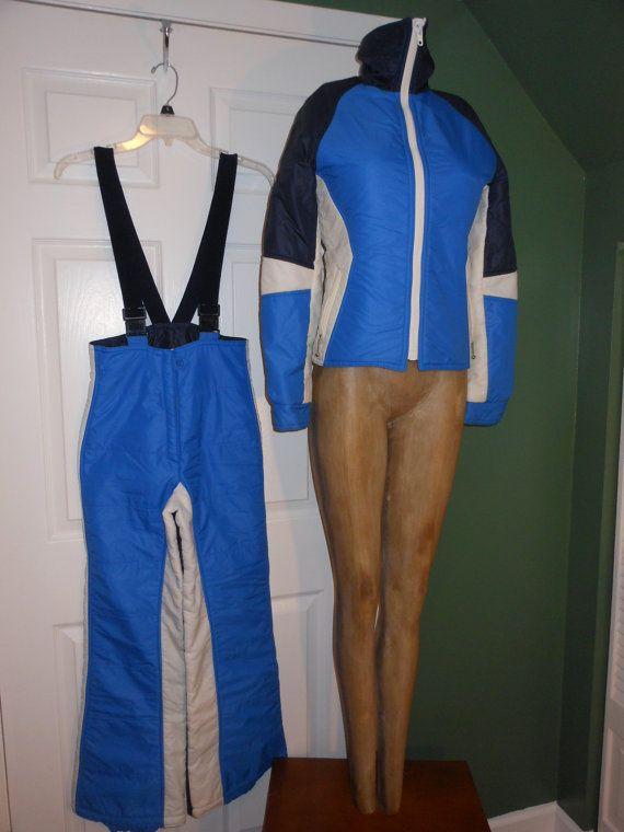 Vêtements rétro Vintage Ski FUSALP faite au Japon 2 pièce neige ski OUTFIT costume Suspender pantalon veste de Ski 3 couleur Blues & Vintage femmes blanches 8