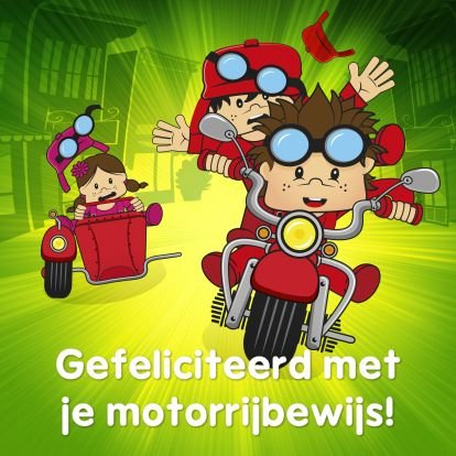 Geslaagd kaarten - Gefeliciteerd geslaagd rijbewijs motor. Meer Bengels vind je ook op www.debengelfamilie.nl