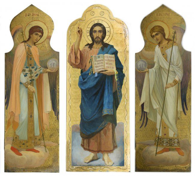 "Triptych icon of Jesus Christ and the Archangels Gabriel and Michael, Russian, late 19th-early 20th century, oil and enamel paints and gold leaf on metal, mounted on wood panel, Christ panel: 70"" tall, Archangel panels: 65"" tall"