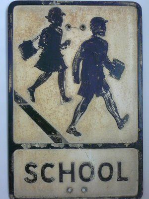 """awesome vintage """"school crossing"""" sign"""