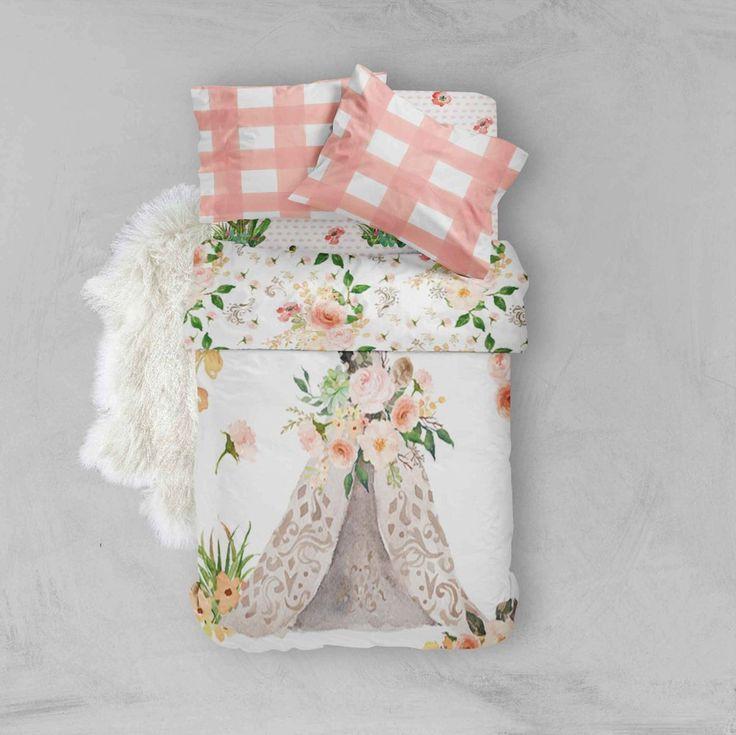 Toddler Bedding Sets - Pink Peach Gold Boho Flower Teepee - Toddler Duvet Cover - Kids Bedding - Pillow Cases - Kids Duvet Cover - Comforter
