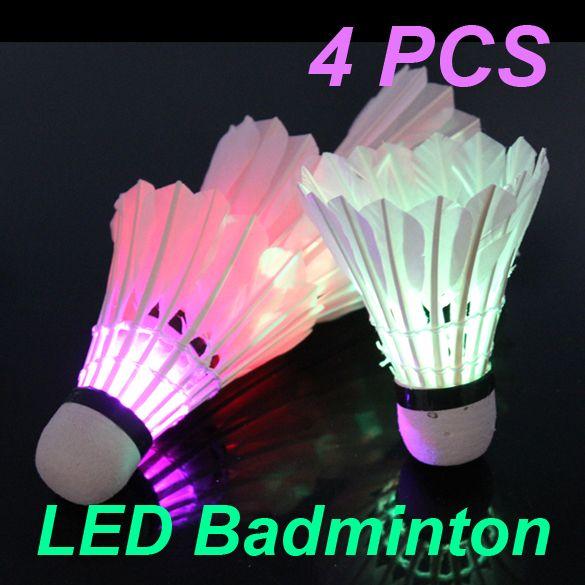 Hot 4 Pcs/lot  Dark Night Colorful LED Badminton Goose Feather Shuttlecock Shuttlecocks Outdoor Sports badminton Ball Freeship #CLICK! #clothing, #shoes, #jewelry, #women, #men, #hats