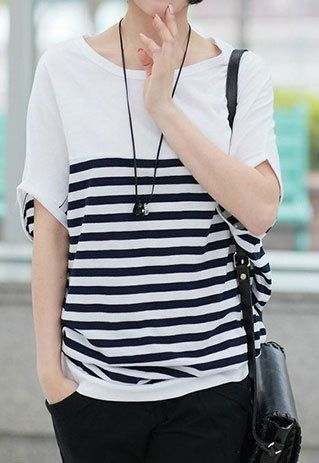 Black and White Stripe Short Sleeve T Shirt Batwing Tops