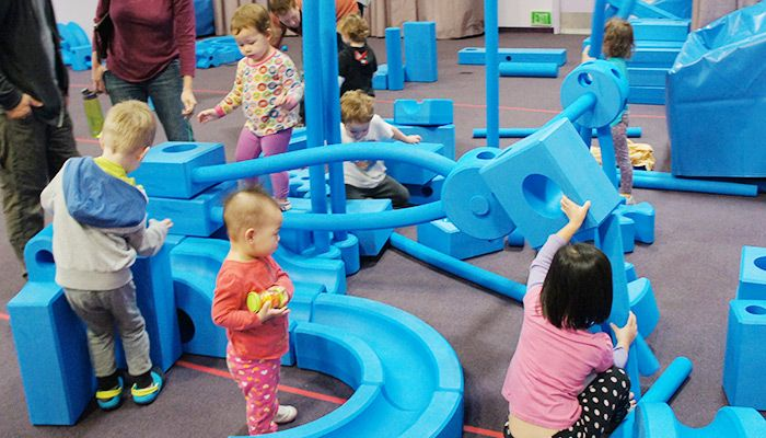 The Imagination Playground blocks provide open-ended and child-directed play. Kids are able build a new world every day! Learn more about this exhibit.