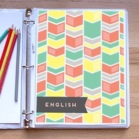 Lovely geometric patterned covers for your school binders or general organizing.