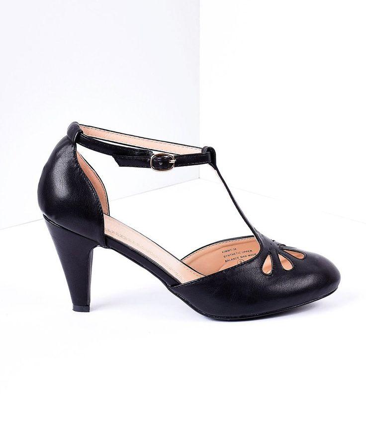Black Pleather Cutout Kimmy T-Strap Heels