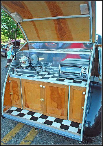 89 best images about teardrop trailers on pinterest for Teardrop camper kitchen ideas