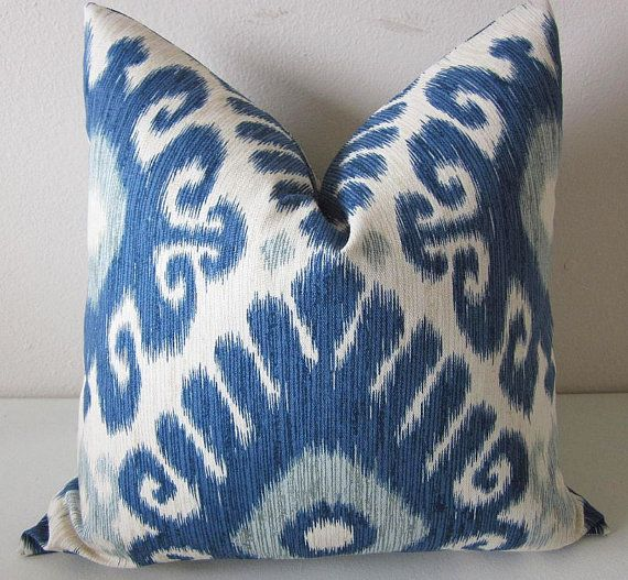 Indigo Ikat Pillow Kilim Style Pillow Ikat by DesignerPillows4U