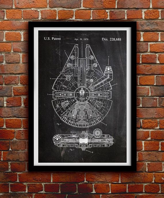 Star Wars Millenium Falcon - Geek Decor - Patent Print Poster Wall Decor - 0068  Hang a piece of history in your Home, Office, Man Cave or Geek Den!  We use only archival inks and acid-free archival Luster paper in the creation of our prints and posters. Luster paper features a slight semi-gloss finish which provides the brilliant color of Glossy paper but without the glare. Its archival and has a light-fastness of 100+ years if kept out of direct sunlight!  - Choose from 3 different styles…