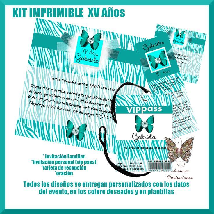 Diseño para XV Años Disponible impreso con grabados y pedrería Ó en  Kit imprimible (todos los diseños se entregan personalizados con los datos del evento  en los colores deseados y en plantillas(
