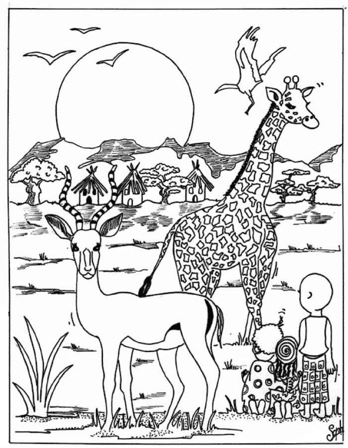 Wild Animal Coloring Pages African Drawings Animal Coloring