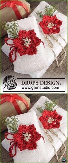Häkeln Sie Weihnachtsstern Geschenk Wrap Topper kostenlose Muster ...