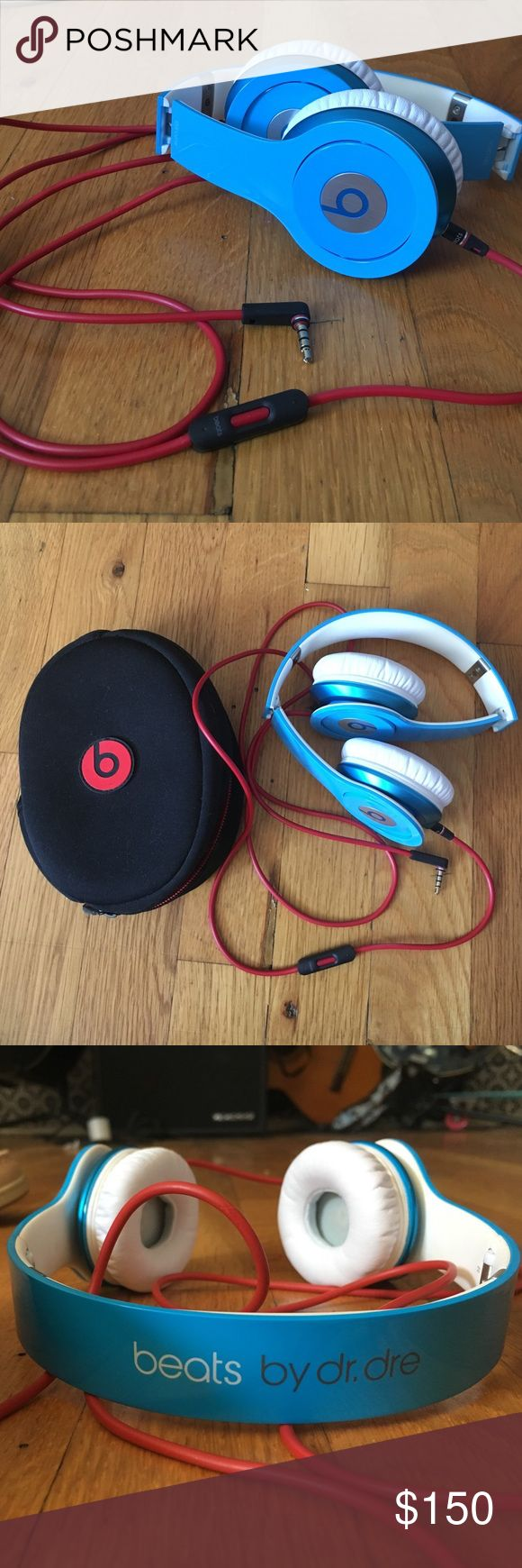 Light blue Beats by dre Solo HD (discontinued) Barely worn light blue beat solos, bought a few years ago but never used so they've just been sitting in my closet. no marks on them, come with the original beats case, and original box. up for any offer :) 100% authentic or money back beats by dr. dre Other