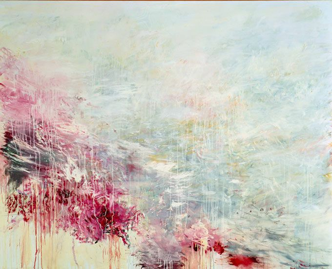 Luminous, watery tones: Cy Twombly's painting Hero and Leandro. Photograph: Gagosian Gallery