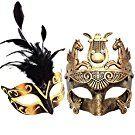 Black Feather & Gold Face Women Mask & Gold Roman Warrior Men Mask Venetian Couple Masks For Masquerade / Party / Ball Prom / Mardi Gras / Wedding / Wall Decoration
