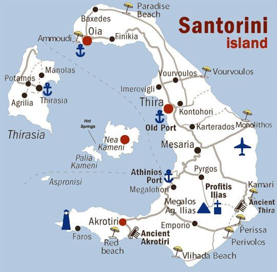 map of Santorini, Greece