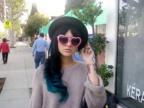 blue tipped hair!