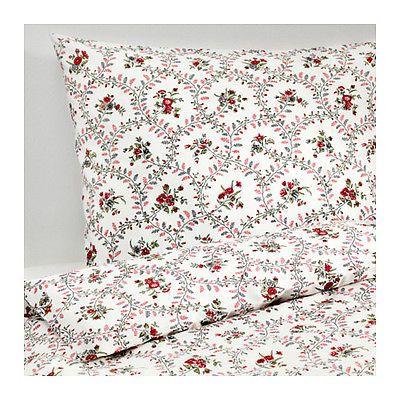 Ikea Hallrot Double King Size Bed Cotton Floral Duvet Cover 4 P/cases Set