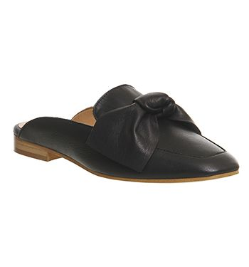 029425787 Office Dance Bow Mule Black Leather - Flats. These. Now.
