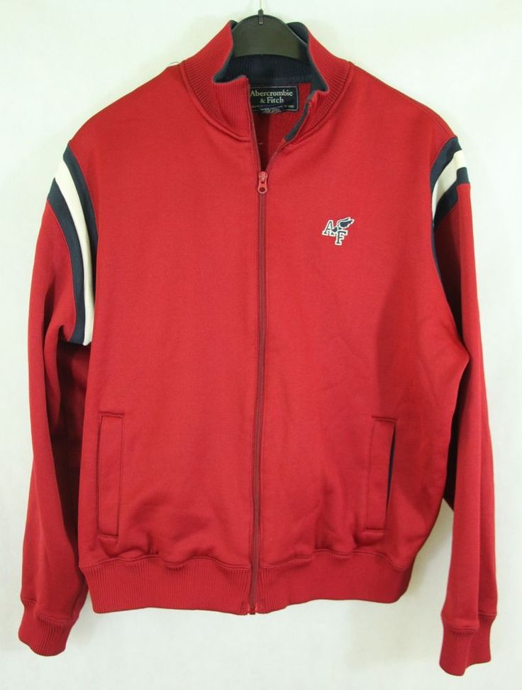 ABERCROMBIE & FITCH VINTAGE ZIP TRACK TOP JACKET SWEATER RED sz XL #AbercrombieFitch #TrackJacket