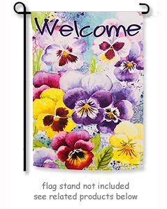 "Watercolor Pansies Garden Flag from Evergreen's Suede Reflections Flag Collection by artist Elena Vladykina.  Size: 12.5"" x 18"" Free Shipping in the USA."