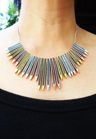 metallic multi color stripes necklace
