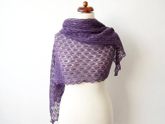purple lace shawl silk alpaca scarf knitted lace stole