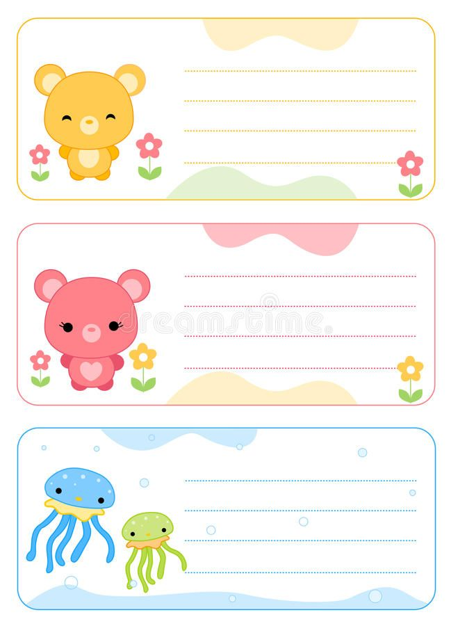 Children Name Cards Vector Illustration Printable Name Tags Hello Kitty Printables Kids Cards