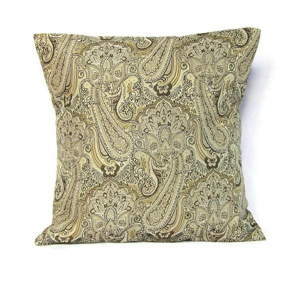 Brown Gold Paisley Pillow Cover Decorative Throw Toss Accent Sofa Couch Ivory Taupe Bronze Khaki ...
