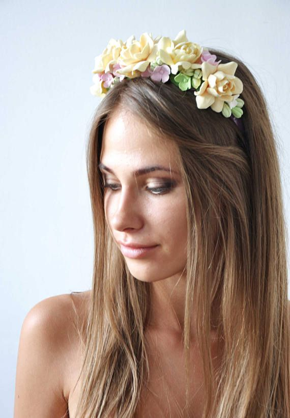 This charming tropical flowers hair wreath (headband) is perfect for your Flower Girl or for the Bride, or for Bridesmaid.  Gardenia symbolizes Gardenia symbolizes joy, beauty, grace, and femininity. Flowers are hand made of polymer clay.  #flower_hair_wreath #ivory_floral_crown #gardenias_head_wreath