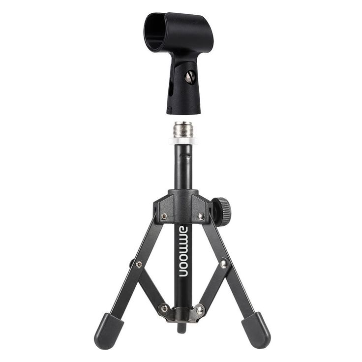Mini Foldable Adjustable Desktop Microphone Stand Tripod with Mic Clip Holder #ammoon