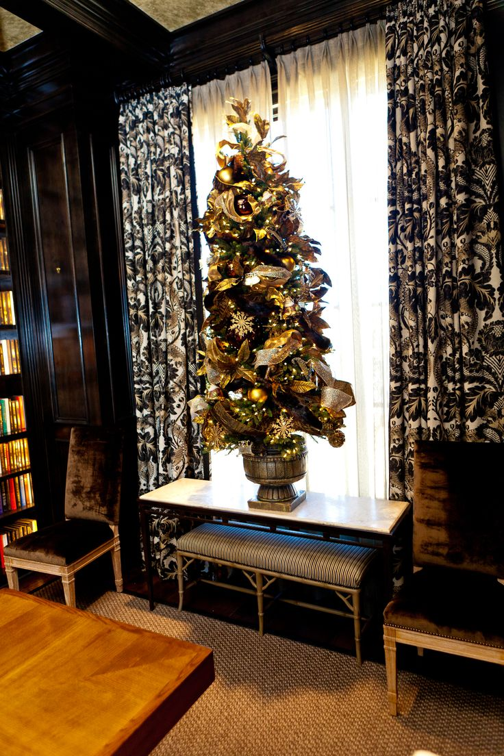 """Topiary tree graces library and is dressed for a """"Night on the Town"""" learn how, http://www.app.showmedecorating.com"""